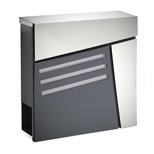 Buzón Diseño Moderno V25 Antracita Compartimiento Periódico Acero recubierto en polvo