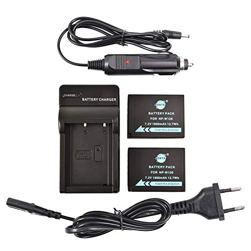 DSTE 2-Pack Batteria + Caricabatteria Compatibile per Fujifilm NP-W126 NP-W126S FinePix HS30EXR HS33EXR HS35EX HS50EXR X-A1 X-A2 X-A3 X-E1 X-E2 X-M1 X-Pro1 X-T1 X-T2 X-T10 XFmmf2 Digital Camera