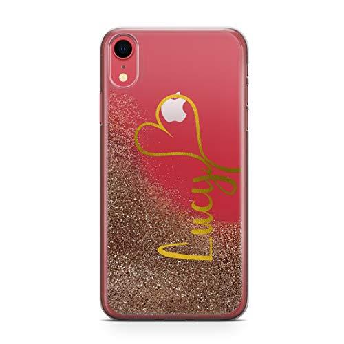 TULLUN ECHT FLIEßEN FLÜSSIG Funkelnde Glitzer Persönliche Name und Herz Initialen Text TPU Handyhülle Schutzhülle für iPhone - Champagner Gold & Gold Schriftzug - für iPhone X/XS