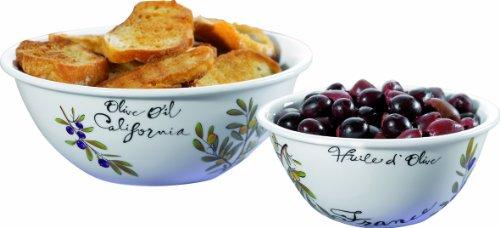 Esmeyer Veneto - Service de Deux Plats à Service/saladiers Veneto, Porcelaine Blanche, Impressions colorées, dans Un Coffret Cadeau