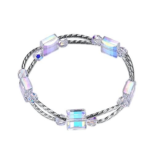 YYYSHOPP Joyas Pulseras de pulsera para mujeres 925 plata geométrica cuadrada encantos de cristal para pulseras pulseras de joyería fina
