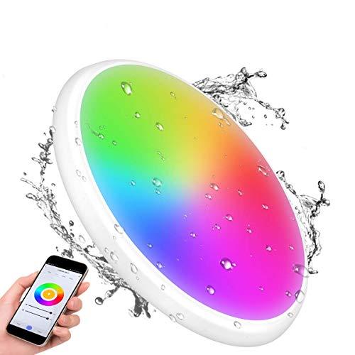 YUNLIGHTS Smart LED Deckenleuchte - 12'' 24W Smart LED Deckenleucht Kompatibel mit Alexa & WiFi App Steuerung RGB Dimmbare IP65 Wasserdicht für Badezimmer Schlafzimmer Flur [Energieklasse A+]