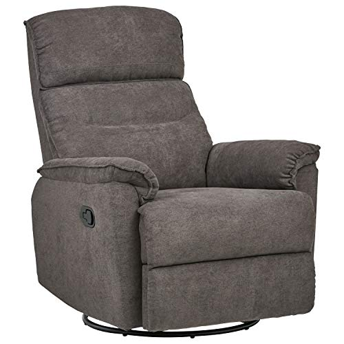 Amazon Brand – Ravenna Home Pull Recliner with 360 Rotating Swivel Glider, Living Room Chair, 39'W, Grey