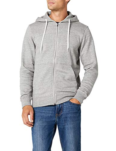 JACK & JONES Herren JORSTORM Sweat Zip Hood Basic NOOS Jacke, Grau (Light Grey Melange Fit:reg), Large (L)