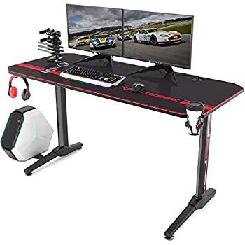Vitesse Gaming Desk 55 inch Gaming Computer Desk PC Gaming Table T Shaped Racing Style Proitessfessional Gamer Game Station with Free Mouse pad USB Gaming Handle Rack Cup Holder Headphone Hook