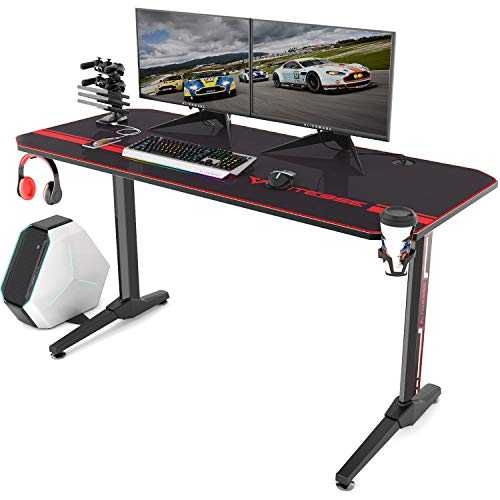 Vitesse 55 inch Gaming Desk Racing Style Computer Desk with Mouse pad, T-Shaped Professional Gamer Game Station with USB Gaming Handle Rack, Cup Holder and Headphone Hook (Black)
