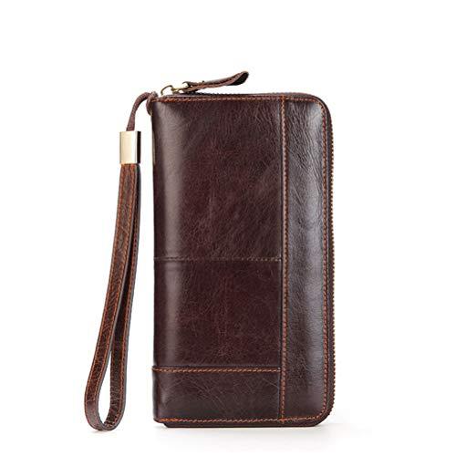 DFSDG Bolso de embrague de los hombres de cuero de los hombres de negocios largo cartera de teléfono de negocios bolsa de tarjeta monedero