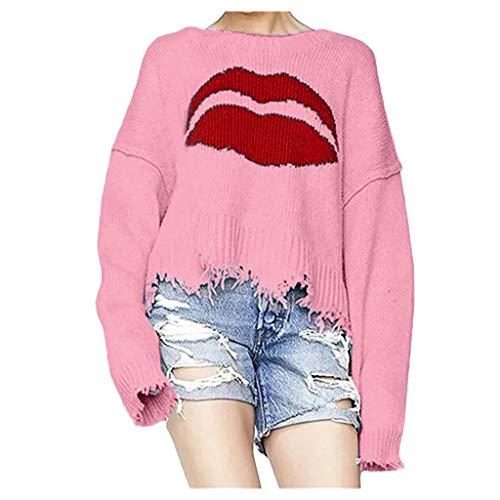 Damespullover, kort, modieus, sexy, deelin, pullover, blouse, jacquard, lippenvorm, herfst, winter, warm, gebreide trui, ronde hals, oversized, blouse van gebreid met franjes.