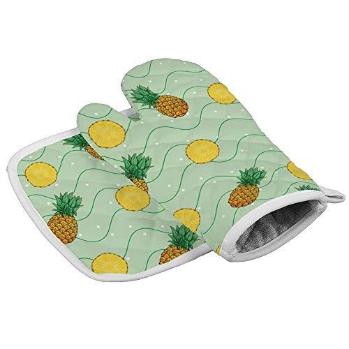 IMERIOi Ofenhandschuh und Topflappen-Set, Kiefer, Kokosnuss, Mango, Banane, Obst, hitzebeständig, rutschfeste Topflappen für Küche, Backen, Grillen, Grillen