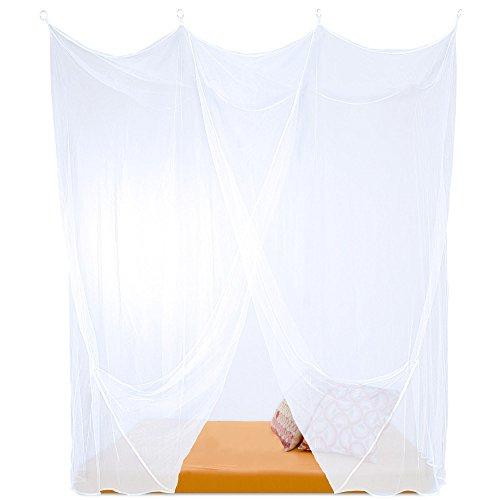 Sumkito Moskitonetz Einzelbett weiß Mückennetz eckig Bettvorhang 1 Eingang Insektenschutz