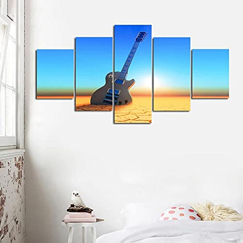 wangdazhuang 5 paneles de arte de pared guitarra eléctrica marco de madera decoración para colgar en la pared 150 x 80 cm