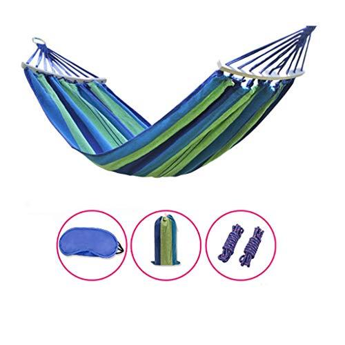 Zmsdt Reisen Strand, Freizeit Camping Hängematte, Dicke Leinwand, hochwertige Holzstab, Überschlag, Schaukel (Farbe : Blau)
