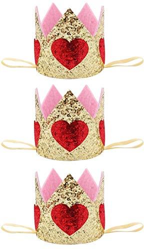 LQXZJ 3 PCS Glitter Baby-Geburtstags-Kronen-Herz-Tiara-Stirnband Prinzessin Baby-Kind-Foto-Stütze-Haar-Band-Kopfschmuck for Mädchen-Kleinkind-Kinder (Color : Golden)
