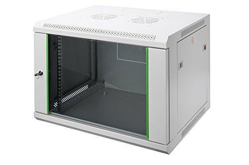 DIGITUS Netzwerk-Schrank 19 zoll 12 HE - Wandmontage - 450 mm Tiefe - Traglast 60 kg - Dynamic Basic - Glastür - Grau