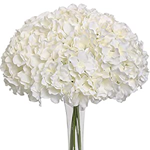 Nubry 12pcs Artificial Silk Hydrangea Flowers Heads with Stems in Bulk Fake Flowers for Wedding Bouquet Centerpieces Arch Home Decoration (White)