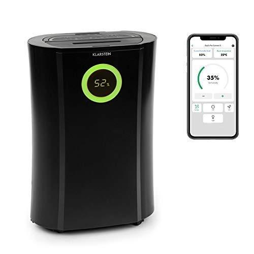 Klarstein DryFy Pro Connect - Deshumidificador de compresión, Purificador de aire integrado con filtro, Ionizador y función UV, WiFi, Automático, Potencia 370 W, Temporizador, Indicador LED, Negro