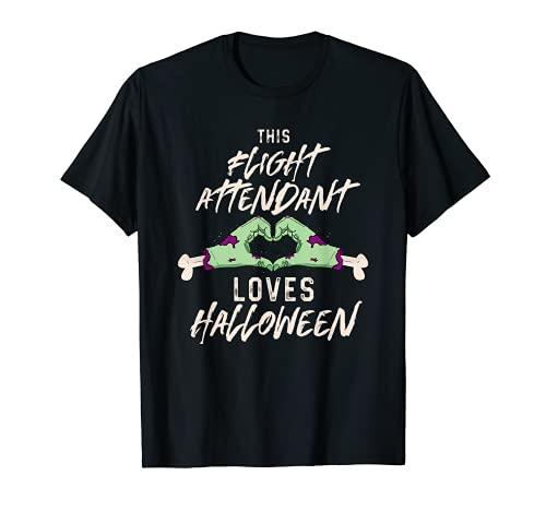 Este asistente de vuelo ama Halloween azafata aterrador Camiseta