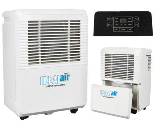 Ideal-air 700830 30 pint dehumidifier 2 rated at 30 pints per day at 86°f/80% rh;quick maintenance with easy filter access that is removable and washable;low temperature defrosting;easy to move with built in handles and wheels;easy to use led display panel;removable water tank with an automatic shutoff when reservoir is full;the reservoir for the dehumidifiers is 6 liters or 12. 5 pints;can be plumbed for permanent drainage;30 pint is 4. 0 amps/420 watts;115 volt country of origin: china brand name: ideal-air