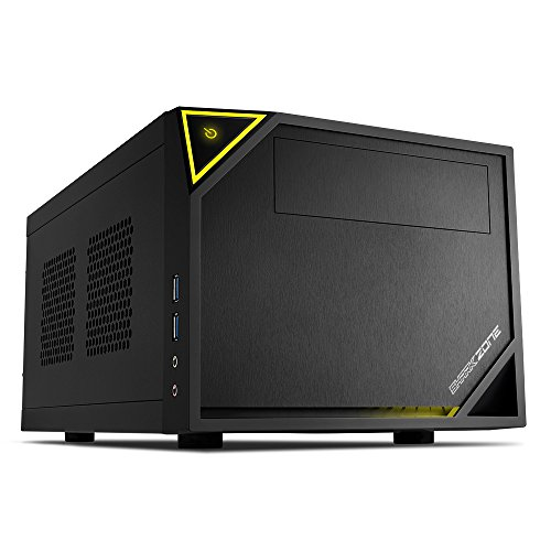 Sharkoon Shark Zone C10 - Caja de Ordenador, Pc Gaming, Mini-Itx, Negro, Amarillo