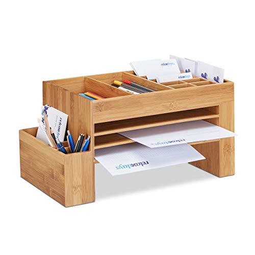 Relaxdays Schreibtisch-Organizer Bambus, Ablagesystem f. Büro, Aufbewahrungsbox, Briefablage, HBT 20x40x21,5 cm, natur