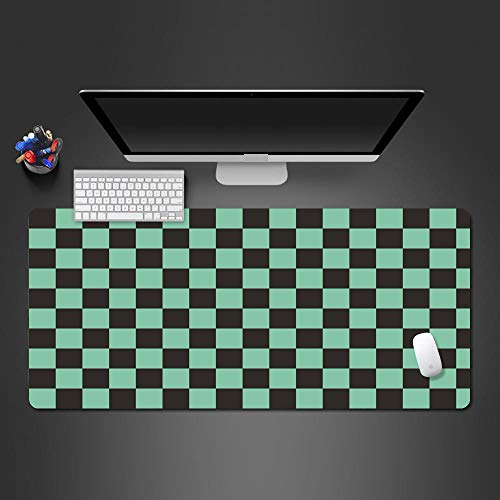 PKUOUFG Green Black Checkered Non Slip Mouse pad (31.5x15.7 inches) Anti Fray Cloth Gaming Mouse Pad High Performance Mouse Pad Optimized for Gaming Sensors Designed for Maximum Control Extended MUL