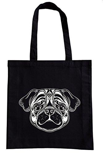 Einkaufstasche Motiv Mops Hund schwarz Baumwolle Einkaufsbeutel Stoffbeutel Baumwollbeutel bedruckt