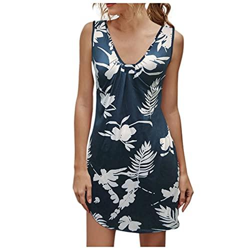 Falda corta con estampado floral vintage para mujer verano playa con cuello en V estampado de flores chaleco una línea sin mangas mini vestido de verano