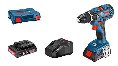 Bosch Professional 18V System Akku-Bohrschrauber GSR 18V-28 (max. Drehmoment (weich/hart): 28 / 63 Nm, inkl. 2x2,0 Ah Akku, Ladegerät GAL 18 V-20, L-Case)
