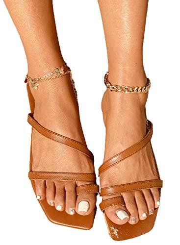 CORAFRITZ Zapatillas planas de verano de moda con clip para mujer