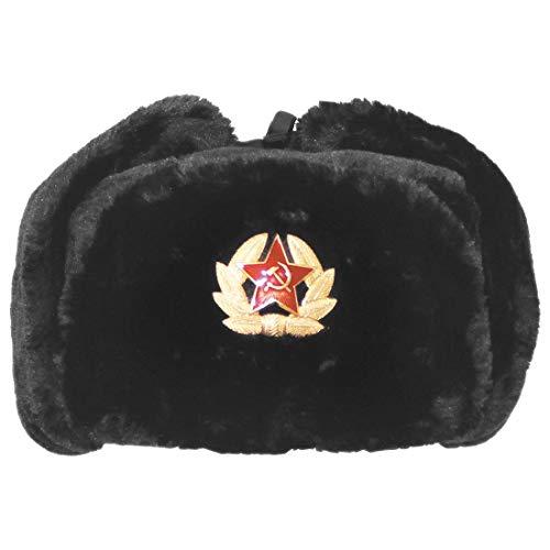 Islander Fashions Russischer Trapper Hut M�tze mit sowjetischem Abzeichen Kunstpelz Uschanka Kosaken Klappen Hut Schwarz Einheitsgr��e