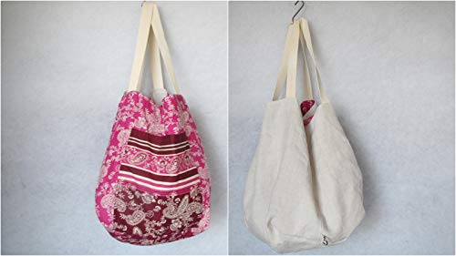Tasche groß, hobo Bag,genäht aus handgewebtem Leinen und Baumwolle