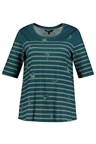 Ulla Popken Damen große Größen T-Shirt manganblau 50/52 749538 88-50+