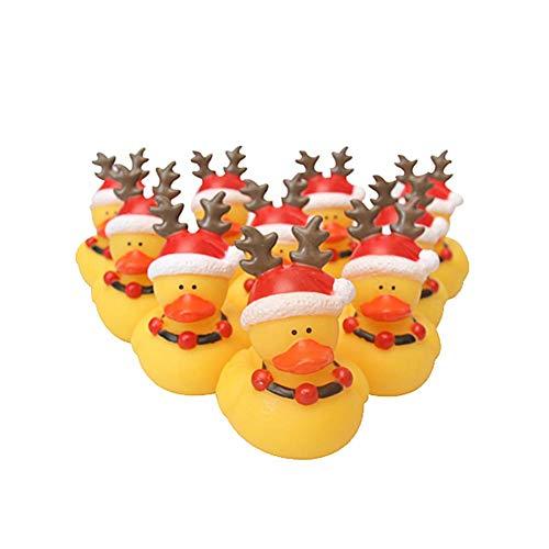 Molinter 10x Gummiente Quietsche Ente Baby Weihnachten Badeente Bade Badeenten Gelb Quietscheente Gummienten für Baby Dusche Spielzeug