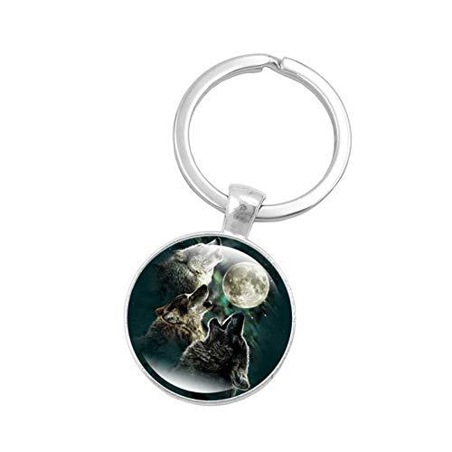 YQCZ Schlüsselbund Vintage Schmuck mit versilbertem Glas Cabochon Wolf Muster Autozubehör Schlüsselbund Ring für Männer Geschenk,6