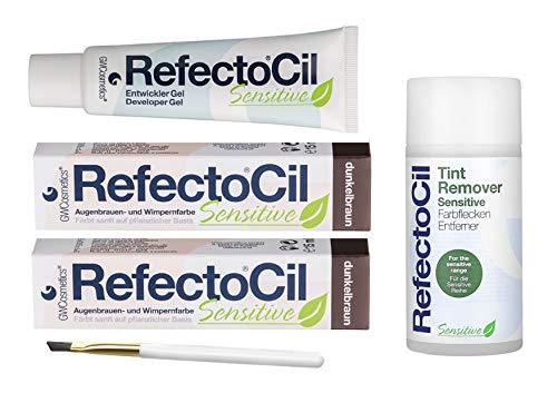 Refectocil Sensitive SET Augenbrauen/Wimpernfarbe 2 x dunkelbraun - Entwickler & Farbfleckenentferner