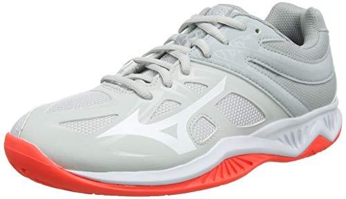 Mizuno Thunder Blade 2, Zapatillas de Voleibol Mujer, Gris Glaciergray Blanco Fiery Coral 60, 38 EU