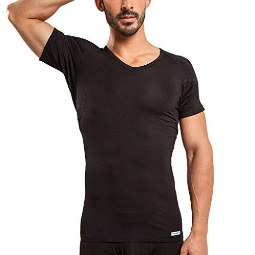Camiseta Interior de Hombre a Prueba de Sudor Eji, Cuello de Pico, Plata antiolor, Micromodal, Almohadillas para el Sudor (S, Black)