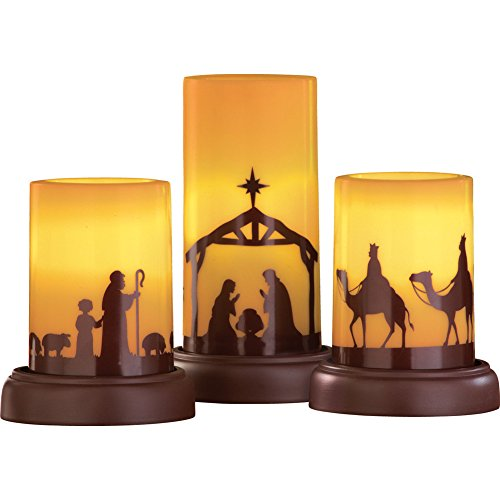 Collections Etc LED Flameless Christmas Nativity Scene Candles, Holiday Home Decor Accents - Set of 3