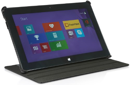 StilGut UltraSlim Hülle V2 mit Stand- & Präsentationsfunktion Hülle für Microsoft Surface 2, schwarz