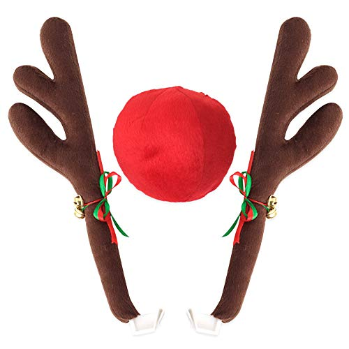 Klinkamz Rentier-Geweih-Kostüm, Jingle Bells, Rudolph, für Auto, Weihnachtsdeko, mit Nase