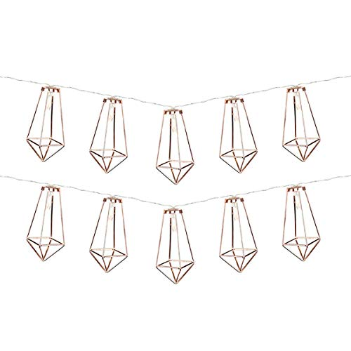 Metal String Lights - Warm White LEDs - Battery Operated - Timer by Festive Lights (Rose Gold)