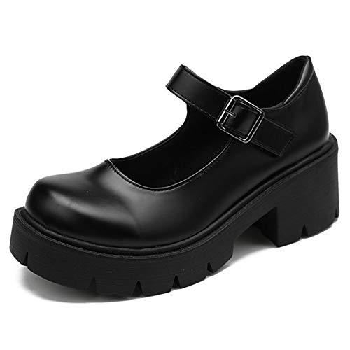 WangQiLing Frauen Mode Mary Janes Schuhe Vintage Schnalle Strap Elegante Plattform Wohnungen Runde Zehe Concise Schulschuhe,B,38