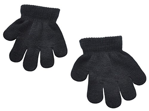 BaiX Toddler Boys and Girls Winter Knitted Writing Gloves, 1-3 Years Old - Black - 1-3 Years old