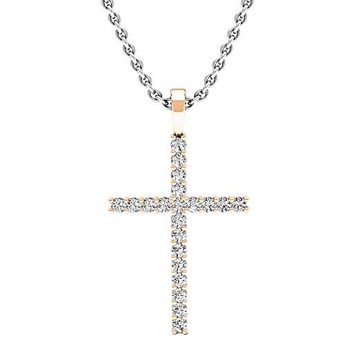 0.30 Carat (ctw) Round White Diamond Ladies Cross Pendant 1/3 CT (Silver Chain Included), 14K Rose Gold (0.30 Ct Pear Diamond)