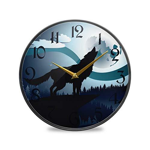 ART VVIES Reloj de Pared Redondo de 9,5 Pulgadas Que no Hace tictac silencioso Funciona con Pilas Oficina Cocina Dormitorio decoración del hogar-Galaxy Sky Moon Wolf Roar