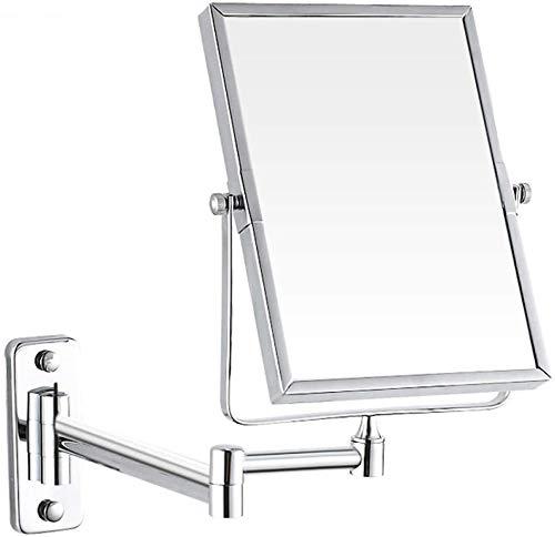 Doppelseitiger Spiegel, an einer Wand montierten Spiegels 3 fach Verstärkungsgrad Drehspiegel 360 erweitert werden kann, ist es im Schlafzimmer oder im Bad Rasur sein kann,Silver