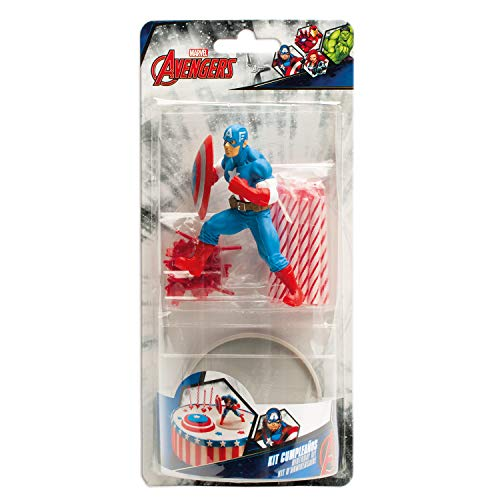 Captain America 303007 Kit Decoration GÂTEAU Figurine, Plastique, Multicolore,, 11 x 5 x 23 cm