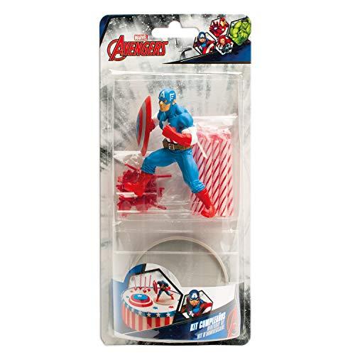 dekora Marvel Captain America Tortenfiguren mit Geburtstagskerzen, Kunststoff, Mehrfarbig, 11 x 5 x 23 cm