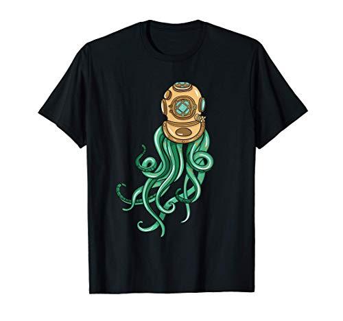 Scuba Diver Octopus Illustration Gift Sea Diving Maglietta