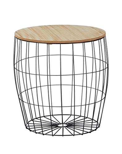 Meinposten. Couchtisch Beistelltisch Tisch mit Stauraum Metall Holz Nachttisch Weiß/Schwarz (Schwarz, Großer Tisch: Ø 40 x H 41 cm)